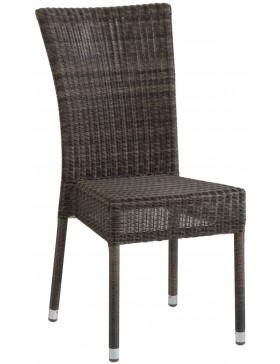 Chaise de jardin Isabelle en résine fine coloris poivre option coussin