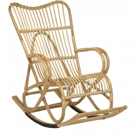 Fauteuil Rocking Chair Marlène en canne naturelle