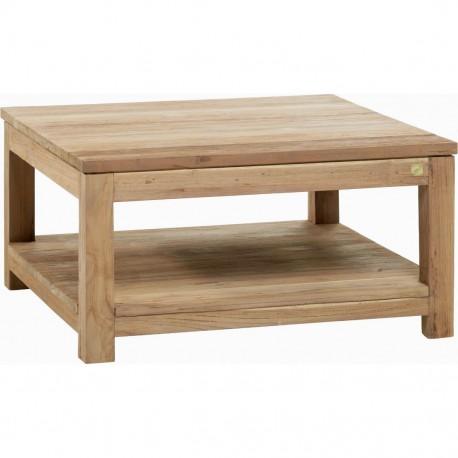 Table basse teck recyclé brossé 80x80