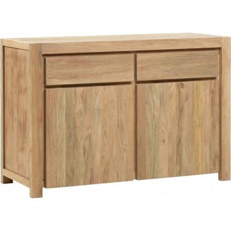 Buffet 2 portes 2 tiroirs - Buffet en Teck brossé - Naturel