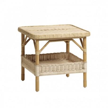 Table basse carrée Nantucket en moelle de rotin blanc