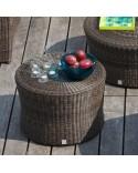 Table basse de jardin Biblos en résine coloris Poivre option verre
