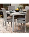 Chaise de jardin Isabelle en résine fine coloris Galet option coussin