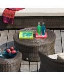 Table basse Biblos en résine coloris Poivre option verre