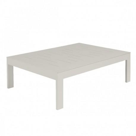 Table basse Sienna 100x70 alu blanc fumée