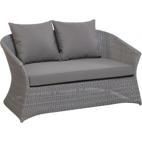 Canapé 2 places Zenith en résine fine coloris Galet avec coussin