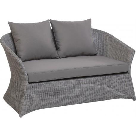 Canapé de jardin 2 places Zenith en résine fine coloris Galet avec coussin