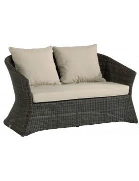 Canapé de jardin 2 places Zenith en résine fine coloris Poivre avec coussin