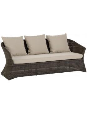 Canapé de jardin 3 places Zenith en résine fine coloris Poivre avec coussin