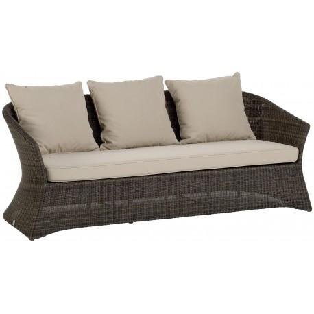 Canapé 3 places Zenith en résine fine coloris Poivre avec coussin