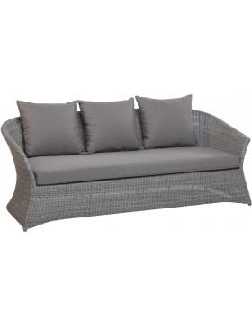 Canapé de jardin 3 places Zenith en résine fine coloris Galet avec coussin