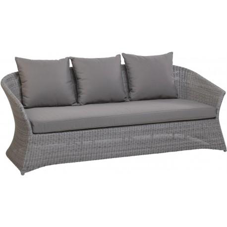 Canapé 3 places Zenith en résine fine coloris Galet avec coussin